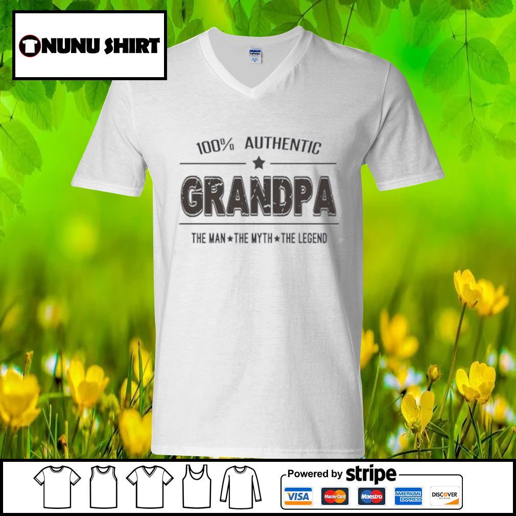 100% authentic grandpa the man the myth the legend s v-neck t-shirt