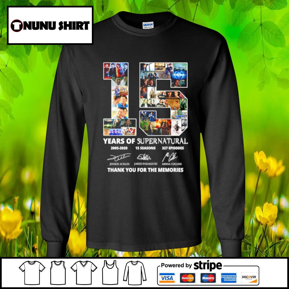 15 years of supernatural 2005-2020 15 seasons 327 episodes thank you for the memories s longsleeve tee