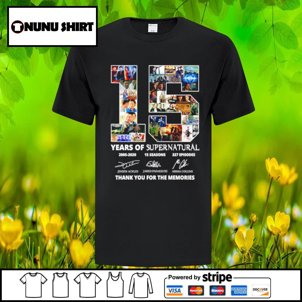 15 years of supernatural 2005-2020 15 seasons 327 episodes thank you for the memories shirt