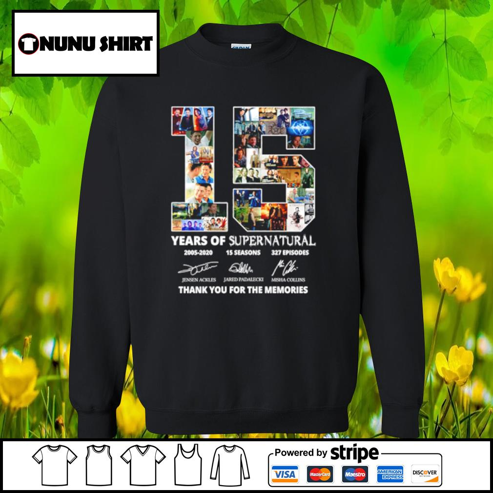 15 years of supernatural 2005-2020 15 seasons 327 episodes thank you for the memories s sweater