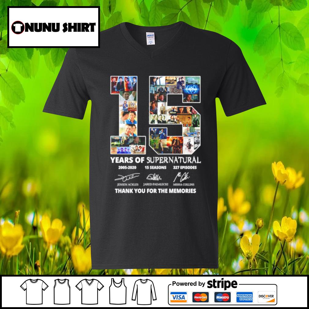 15 years of supernatural 2005-2020 15 seasons 327 episodes thank you for the memories s v-neck t-shirt