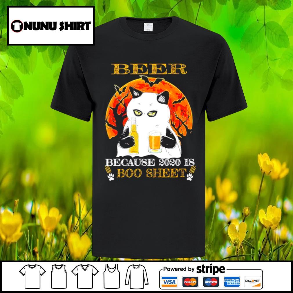 Cat beer because 2020 is boo sheet halloween shirt