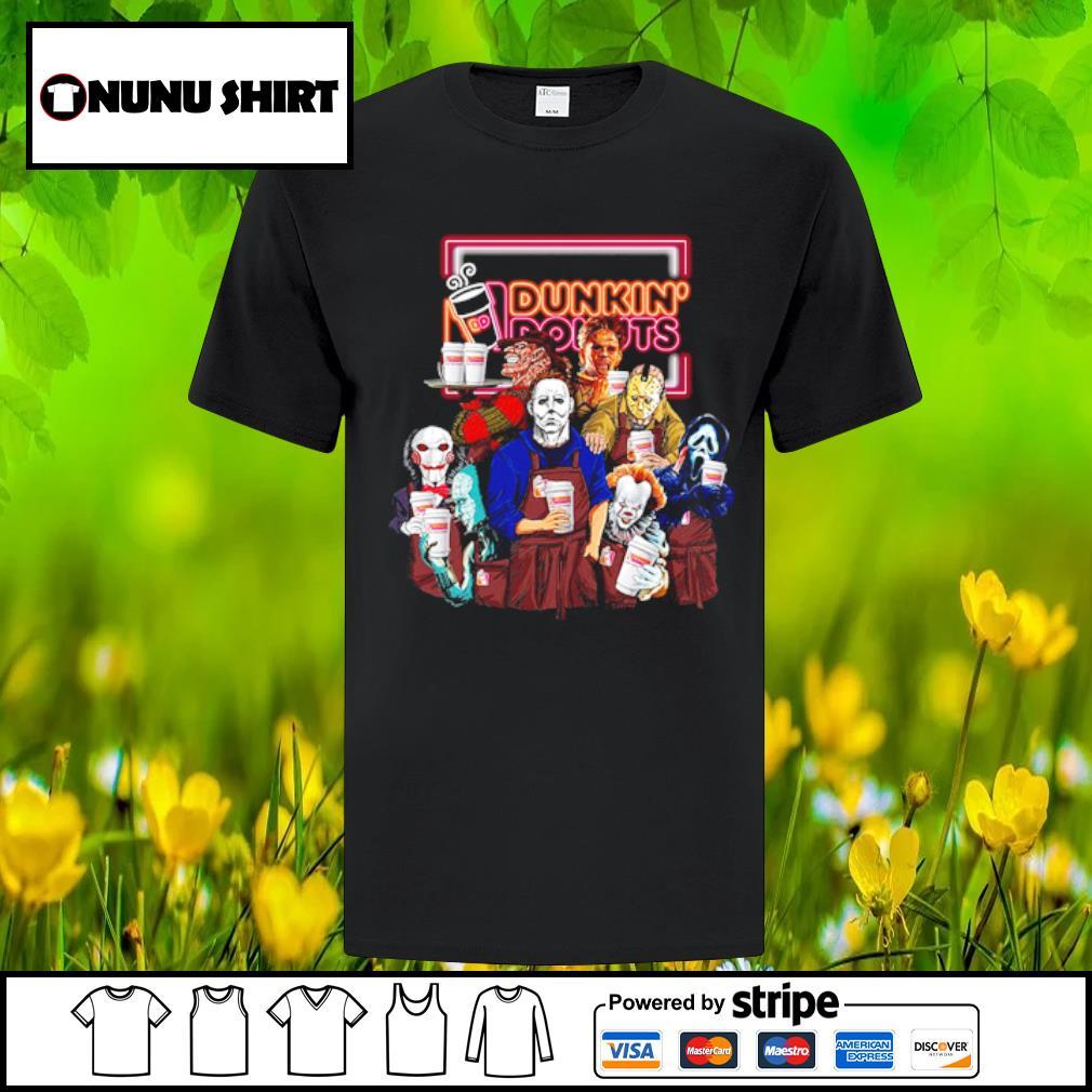 Horror Characters Dunkin_ Donuts halloween shirt