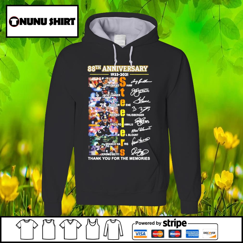 88th anniversary 1933-2020 Pittsburgh Steelers thank you for the memories signatures s hoodie