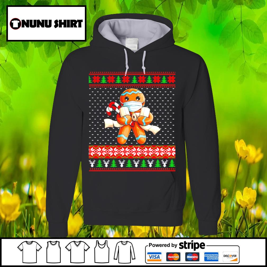 Gingerbread face mask toilet ugly Christmas s hoodie