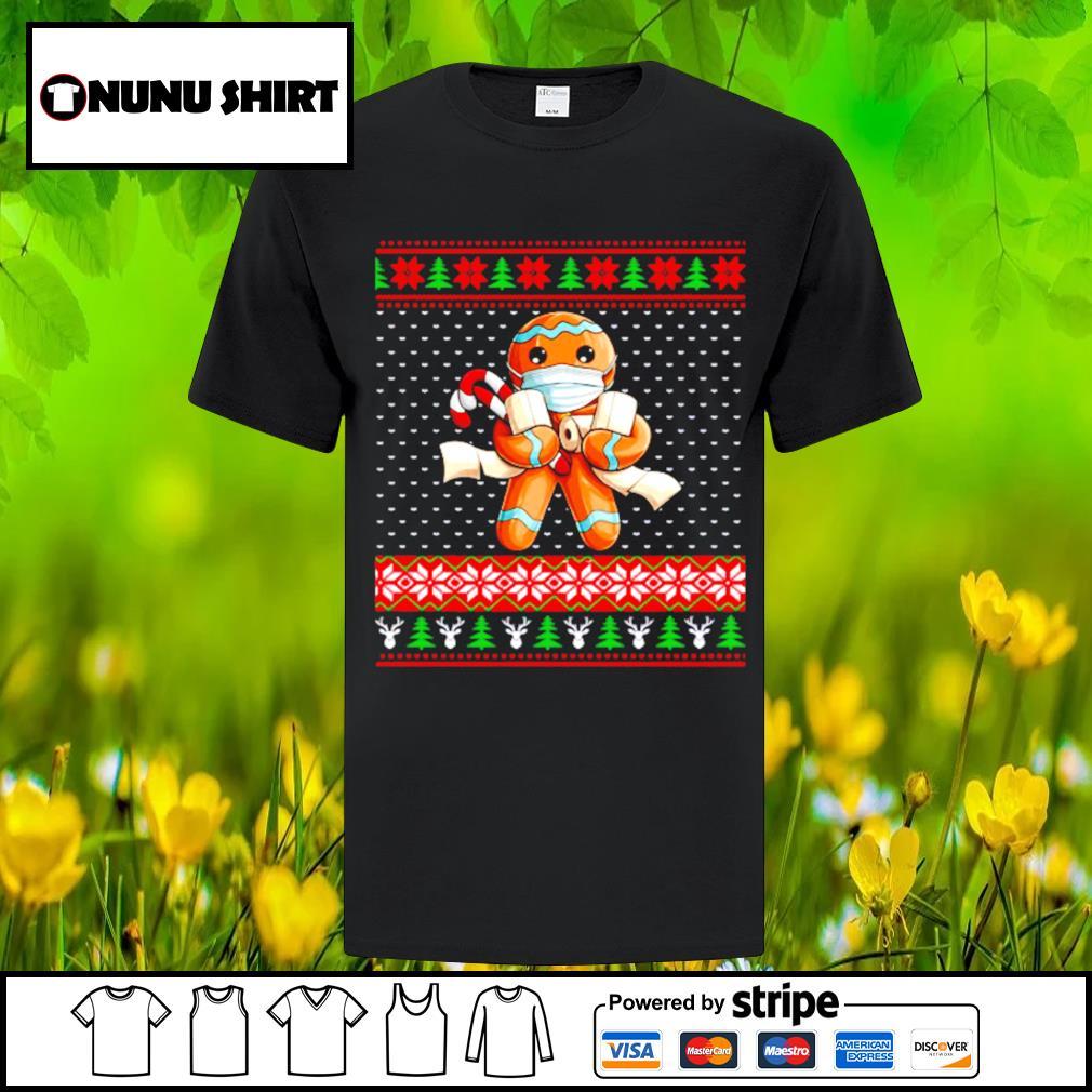 Gingerbread face mask toilet ugly Christmas shirt