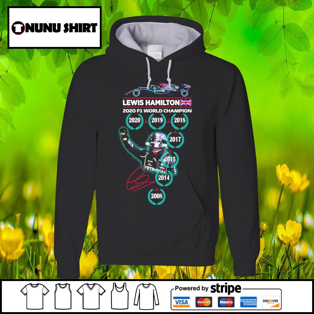 Lewis Hamilton 2020 F1 World Champion signature s hoodie